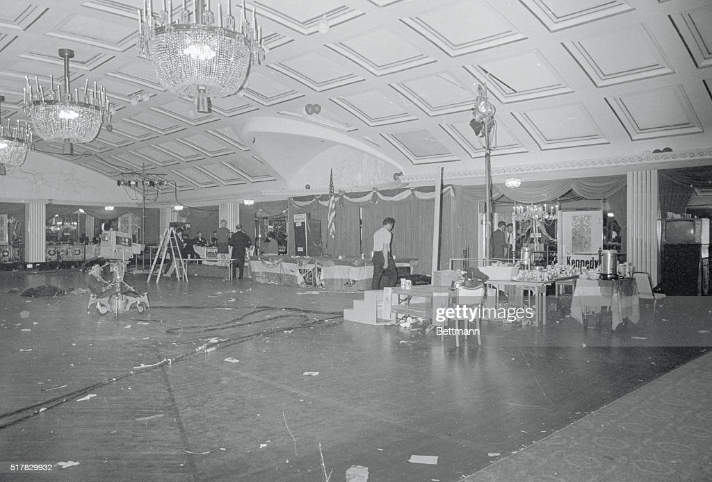 the ballroom of the ambassador hotel here is a mess of litter and