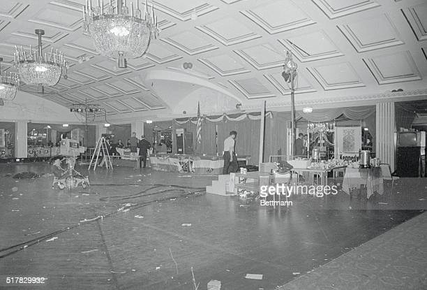 The ballroom of the Ambassador Hotel here is a mess of litter and some remiaing TV cameras late June 5th Earlier it wa the scene of a vistory...