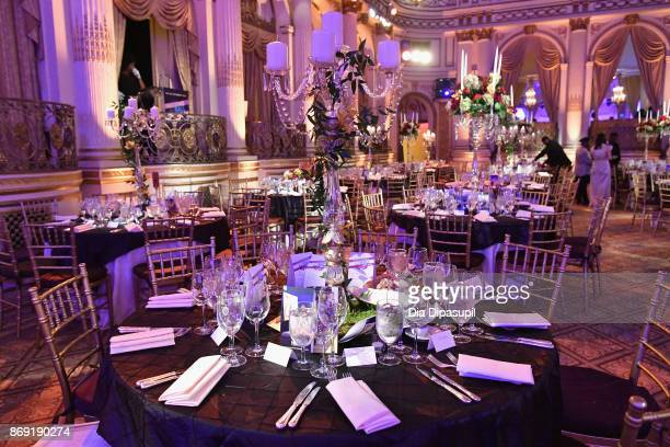 The ballroom on display at HSA Masquerade Ball on October 23 2017 at The Plaza Hotel in New York City