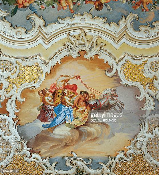 The Ballroom's frescoed vault detail Palazzo Biscari Catania Sicily Italy 18th century