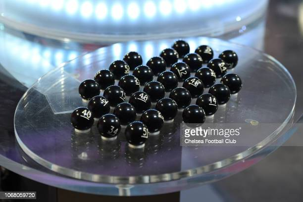 The balls at the Emirates FA Cup Third Round Draw at Stamford Bridge on December 3 2018 in London England