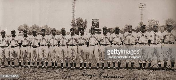 The Baltimore Elite Giants of the National Negro League pose for a panoramic photo circa 1949 in Baltimore Maryland Stars of the team include Junior...