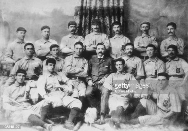 The Baltimore Orioles baseball team front Jack Doyle John McGraw Willie Keeler and Arlie Pond Middle Steve Brodie Bill Huffer Joe Kelly 18711943...