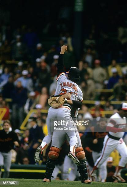 The Baltimore Orioles catcher Rick Dempsey hugs pitcher Tippy Martinez after the Orioles defeat the Chicago White Sox in game four of the ALCS...
