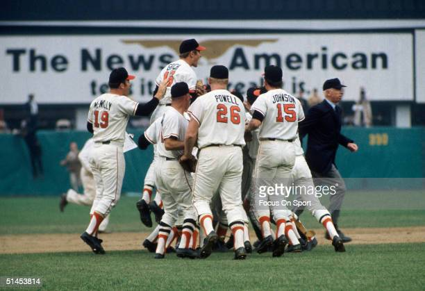 The Baltimore Orioles celebrate after winning Game Five of the World Series against the Cincinnati Reds at Memorial Stadium on October 1970 in...
