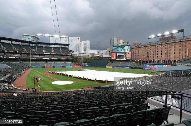 The Baltimore Orioles grounds crew put the tarp on the field before the game against the Washington Nationals at Oriole Park at Camden Yards on...