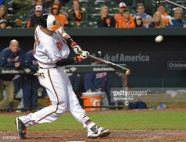 The Baltimore Orioles' Manny Machado connects for a solo home run off Minnesota Twins starting pitcher Phil Hughes during the sixth inning at Oriole...