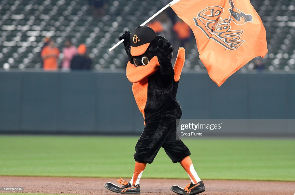 The Baltimore Orioles mascot celebrates after a victory against the Detroit Tigers at Oriole Park at Camden Yards on April 27, 2018 in Baltimore, Maryland.