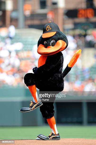 The Baltimore Orioles mascot entertains fans before the game between the Baltimore Orioles and the Cleveland Indians at Camden Yards on August 30...