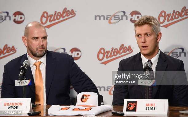 The Baltimore Orioles' new manager Brandon Hyde is introduced by General Manager Mike Elias at a press conference on Monday Dec 17 2018 Hyde left the...