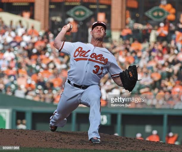 The Baltimore Orioles' pitcher Dylan Bundy pitches against the Minnesota Twins in the seventh inning at Oriole Park at Camden Yards in Baltimore on...