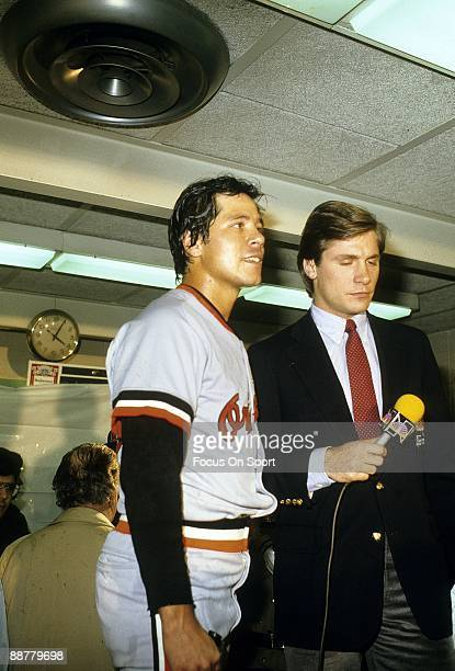 The Baltimore Orioles pitcher Tippy Martinez in the Orioles locker room after the Orioles defeat the Chicago White Sox in game four of the ALCS...