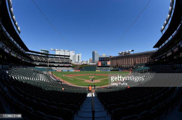 The Baltimore Orioles play against the Tampa Bay Rays in the first inning at Oriole Park at Camden Yards on September 20, 2020 in Baltimore, Maryland.