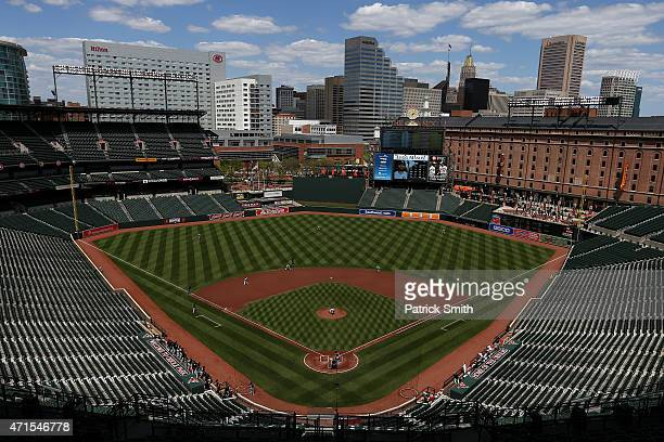 The Baltimore Orioles play the Chicago White Sox in the first inning at an empty Oriole Park at Camden Yards on April 29, 2015 in Baltimore,...