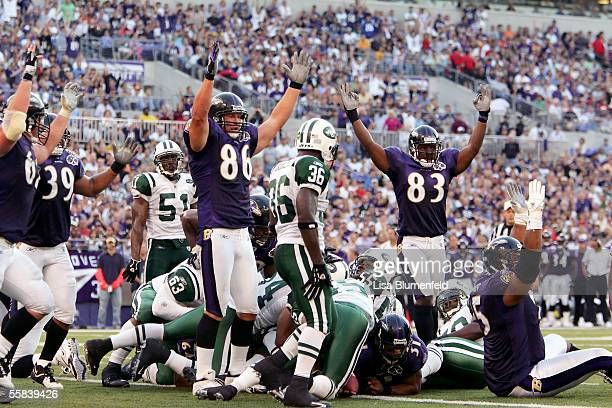 The Baltimore Ravens celebrate a touchdown scored by teammate Jamal Lewis against the New York Jets on October 2 2005 at MT Bank Stadium in Baltimore...