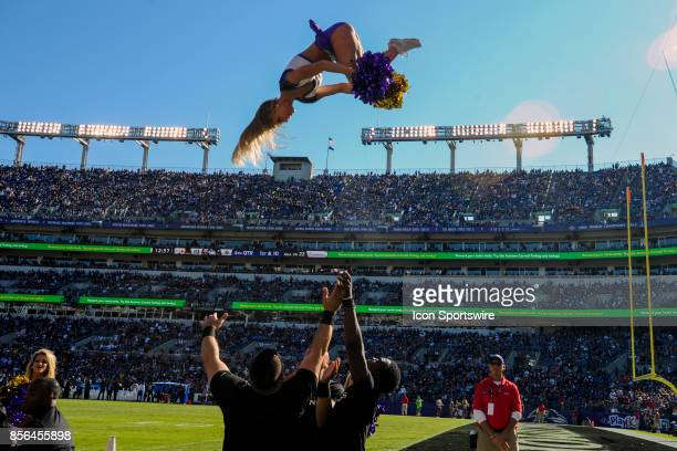 The Baltimore Ravens cheerleaders perform on October 1 at MT Bank Stadium in Baltimore MD The Pittsburgh Steelers defeated the Baltimore Ravens 269