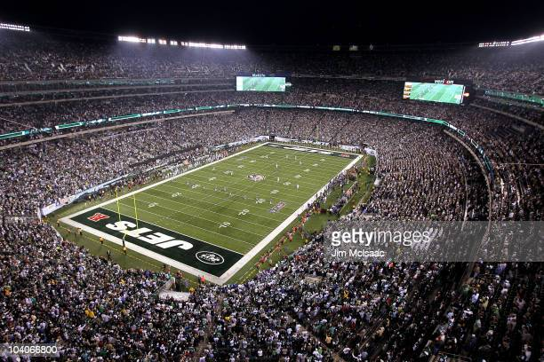 The Baltimore Ravens kickoff to the New York Jets during their home opener at the New Meadowlands Stadium on September 13 2010 in East Rutherford New...
