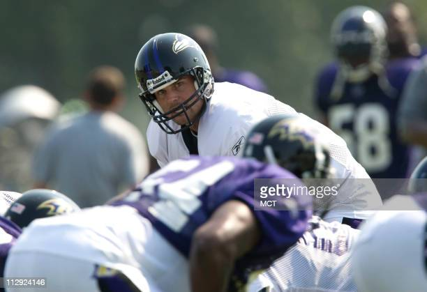 The Baltimore Ravens' Kyle Boller is shown during practice on Thursday, August 2 during the team's training camp in Westminster, Maryland.
