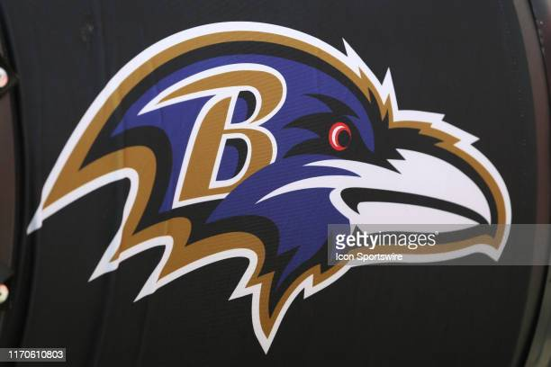 The Baltimore Ravens logo on a misting fan during an AFC matchup between the Baltimore Ravens and Kansas City Chiefs on September 22 2019 at...