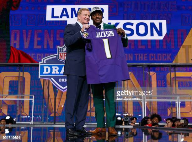 The Baltimore Ravens move up to select Louisville Quarterback Lamar Jackson 32nd overall during the first round of the NFL Draft on April 26, 2018 at...