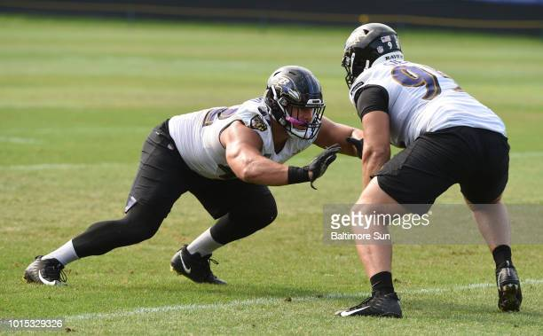 The Baltimore Ravens' Patrick Ricard left and Zach Sieler during a drill at training camp at the Under Armour Performance Center in Owings Mills Md...