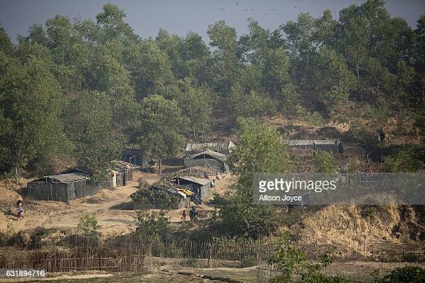 The Balu Kali refugee camp is seen on January 17 2017 in Cox's Bazar Bangladesh More than 65000 Rohingya Muslims have fled to Bangladesh from Myanmar...