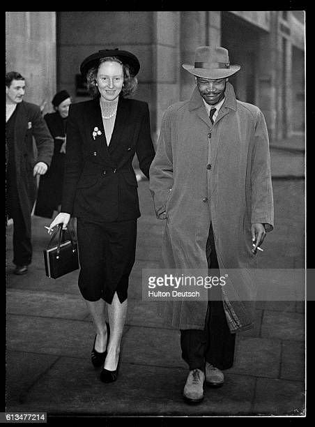 The Bamangwato chief with his wife, formerly Ruth Williams. Their marriage, in 1948, caused Seretse Khama to be banished from Bechuanaland and...