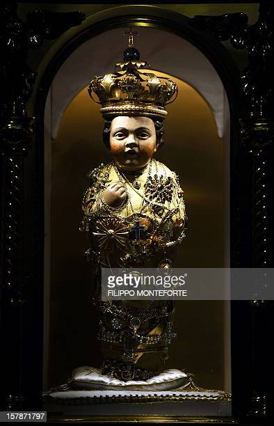 The 'Bambinello' a15thcentury crowned and bejewelled figure of the Infant Jesus which many believe has miraculous powers is on display inside the...