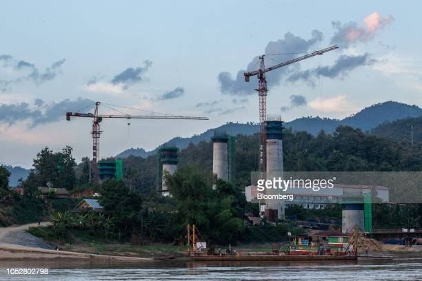 The Ban Ladhan Railway bridge, a section of the China-Laos Railway built by the China Railway Group Ltd., stands under construction on the Mekong...