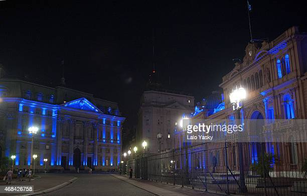 The Banco de la Nacion building and The Casa Rosada Government Palace are illuminated in blue to mark the World Autism Awareness Day on April 2 2015...
