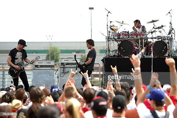 The band 30 Seconds to Mars performs prior to the NASCAR Nextel Cup Series Sharp Aquos 500 at California Speedway on September 2, 2007 in Fontana,...