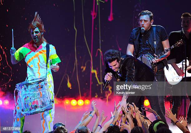 The band American Authors performs onstage during Nickelodeon's 27th Annual Kids' Choice Awards held at USC Galen Center on March 29 2014 in Los...