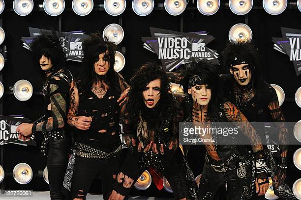 The band Black Veil Brides arrives at the The 28th Annual MTV Video Music Awards at Nokia Theatre LA LIVE on August 28 2011 in Los Angeles California
