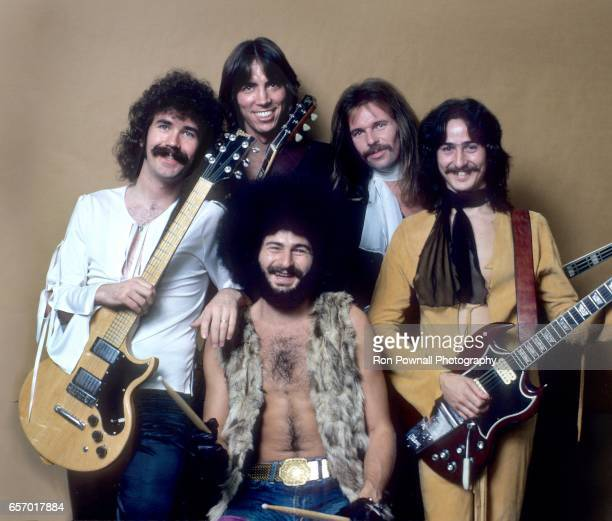 The band BOSTON Brad Delp Tom Scholz Sib Hashian Fran Sheehan Barry Goudreau pose for a portrait backstage at the Providence RI Civic Center on...