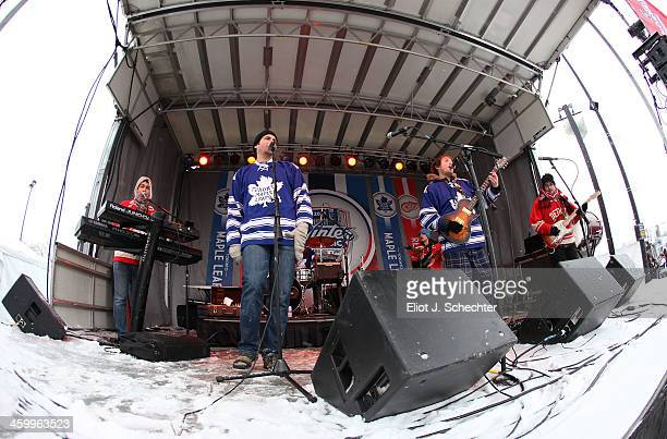 The band Brena performs in the spectator plaza during the 2014 Bridgestone NHL Winter Classic on January 1 2014 at Michigan Stadium in Ann Arbor...