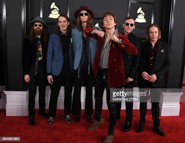 The band Cage the Elephant arrives for the 59th Grammy Awards pretelecast on February 12 in Los Angeles California / AFP / Mark RALSTON