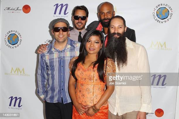 The band Dengue Fever arrives at An Evening for Cambodian Children's Fund honoring Sumner Redstone at The Paley Center for Media on April 17 2012 in...
