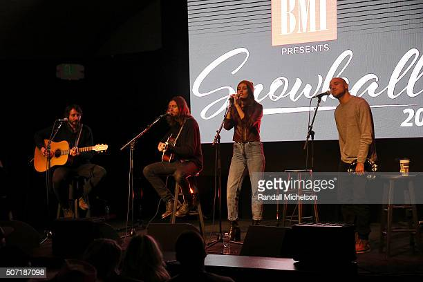 The band Family of the Year performs at the BMI Snowball presented by Canada Goose during the 2016 Sundance Film Festival at Festival Base Camp on...