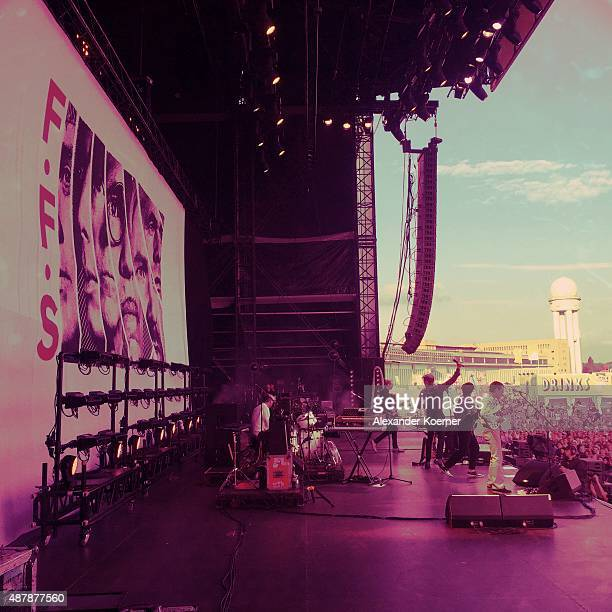 The band FFS perform during the first day of the Lollapalooza Berlin music festival at Tempelhof Airport on September 12, 2015 in Berlin, Germany.