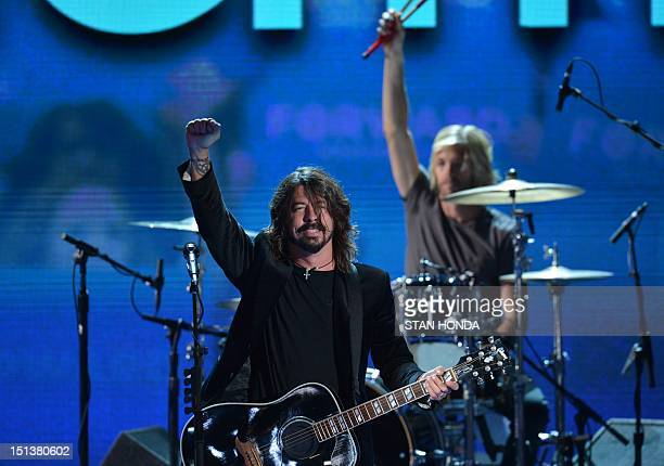The band Foo Fighters performs at the Time Warner Cable Arena in Charlotte North Carolina on September 6 2012 on the final day of the Democratic...