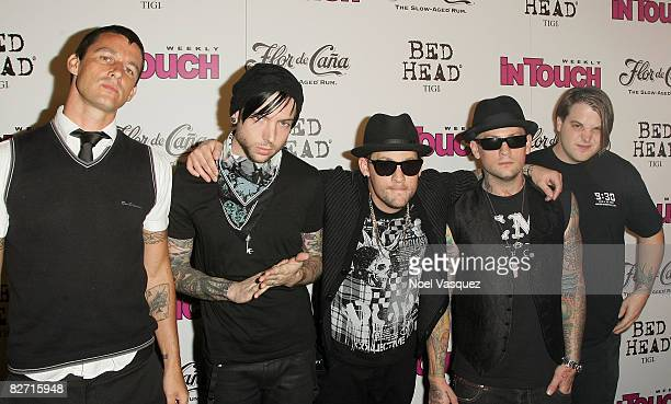 The band Good Charlotte Dean Butterworth Billy Martin Joel Madden Benji Madden and Paul Thomas attend InTouch Weekly's ICONSIDOLS PostVMA Celebration...