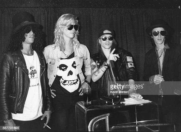 The band 'Guns N' Roses' Slash Duff McKagan Axl Rose and Izzy Stradlin at a press conference announcing the finalists for the MTV Video Music Awards...