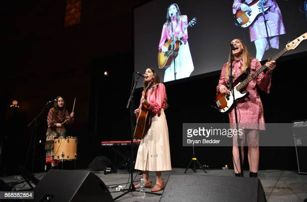 The band Haim performs as Equality Now celebrates 25th Anniversary at 'Make Equality Reality' Gala at Gotham Hall on October 30 2017 in New York City
