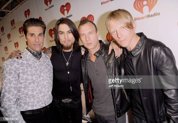 The band Jane's Addiction from left Perry Farrell Dave Navarro Stephen Perkins Chris Chaney arrives at the iHeartRadio Music Festival held at the MGM...