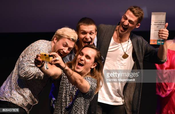 The band Killerpilze with Maximilian Schlichter Fabian Halbig director David Schlichter and Johannes Halbig during the premiere of 'Ihre Beste...