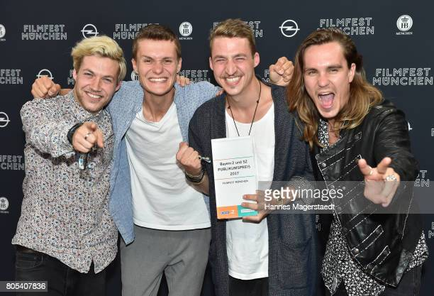 The band Killerpilze with Maximilian Schlichter Fabian Halbig director David Schlichter and Johannes Halbig received the Filmfest public award before...