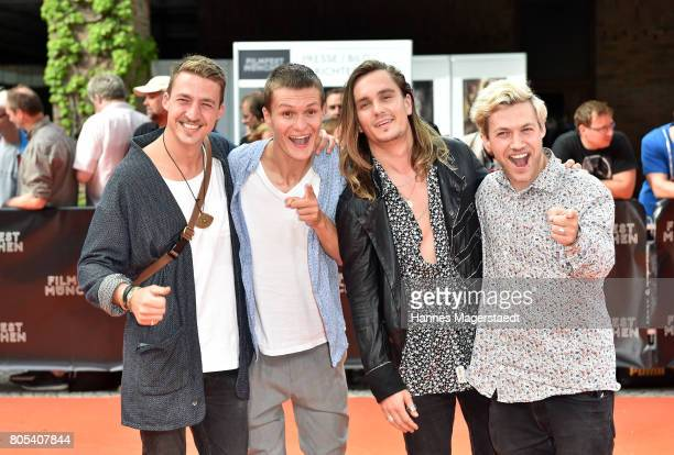 The band Killerpilze with Maximilian Schlichter Fabian Halbig director David Schlichter and Johannes Halbig arrive at the premiere of 'Ihre Beste...