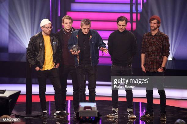 The band 'Kraftklub' win the award for best liveact at the 1Live Krone at Jahrhunderthalle on December 7 2017 in Bochum Germany