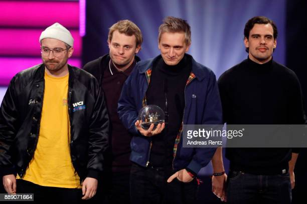 The band 'Kraftklub' win the award for best liveact at the 1Live Krone radio award at Jahrhunderthalle on December 07 2017 in Bochum Germany