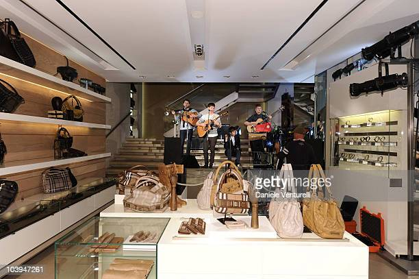 The band Life In Film performs during the VOGUE Fashion's Night Out at the Burberry boutique on September 09, 2010 in Milan, Italy.